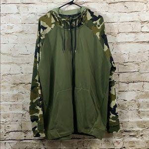 Nike green camo zipper hoodie XXL